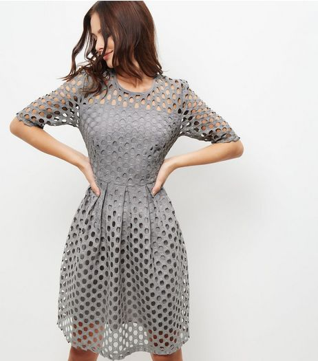 Grey Premium Cut Out Circle Short Sleeve Skater Dress | New Look