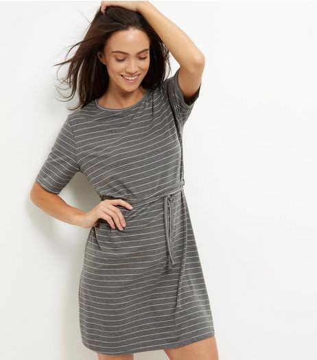 Light Grey Stripe Tie Waist Tunic Dress  | New Look