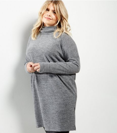 Curves Grey Stripe Brushed Funnel Neck Longline Top | New Look