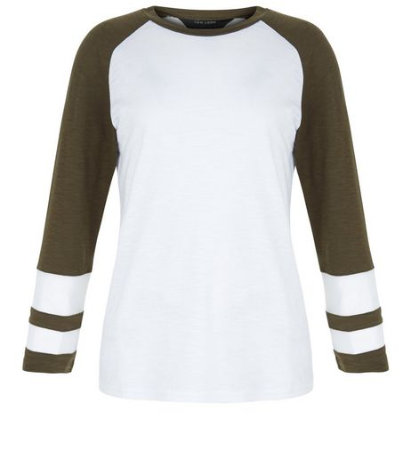 Teens Khaki Raglan Sleeve Mesh Panel Top  | New Look
