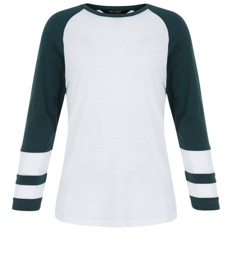 Teens Dark Green Raglan Sleeve Mesh Panel Top | New Look