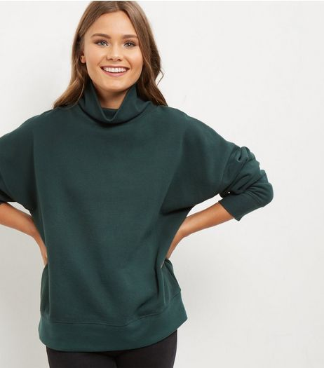 Dark Green Funnel Neck Long Sleeve Sweater  | New Look