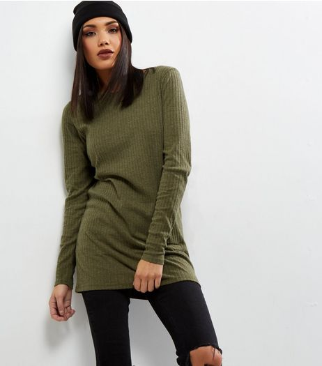 Tall Khaki Brushed Rib Longline Top | New Look
