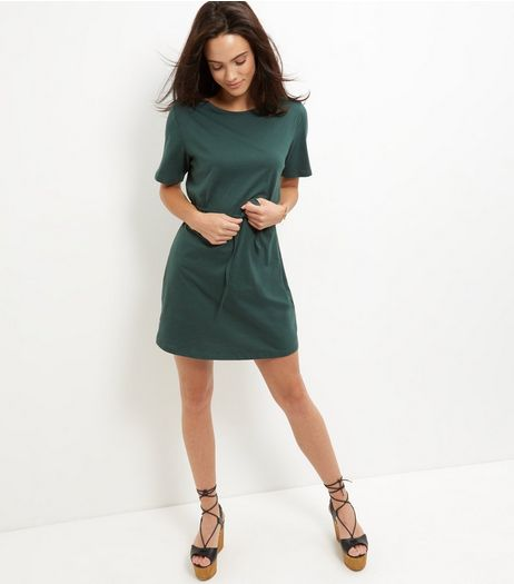 Dark Green Tie Waist Short Sleeve Tunic Dress | New Look