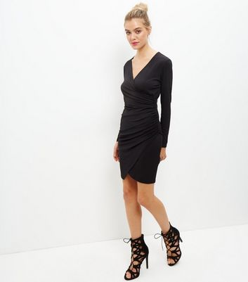 Black Ruched Side Long Sleeve Bodycon Dress