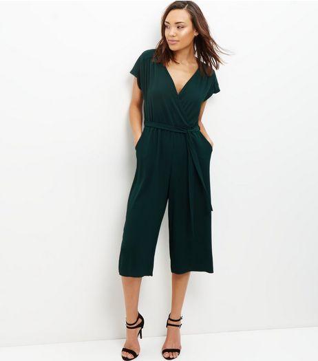 Dark Green Wrap Front Culotte Jumpsuit  | New Look