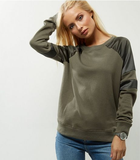 Khaki Sateen Panel Long Sleeve Sweater  | New Look