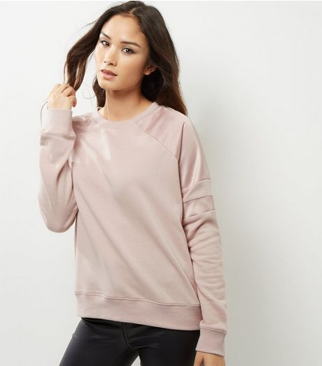 Shell Pink Sateen Stripe Sleeve Sweater  | New Look