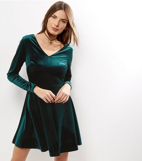 Green Velvet V Neck Long Sleeve Skater Dress | New Look