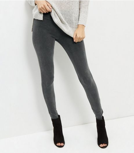 Grey Acid Wash Leggings | New Look
