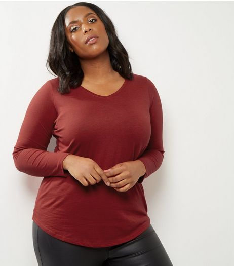 Curves Red V Neck Long Sleeve Top | New Look