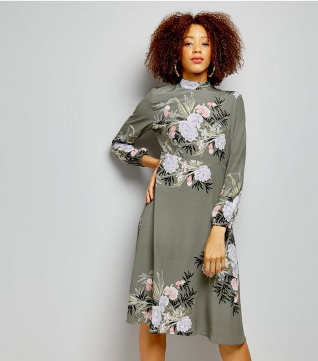 Khaki Floral Print Funnel Neck Long Sleeve Midi Dress | New Look