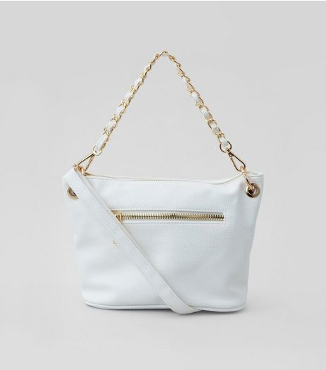 White Chain Strap Cross Body Bag | New Look