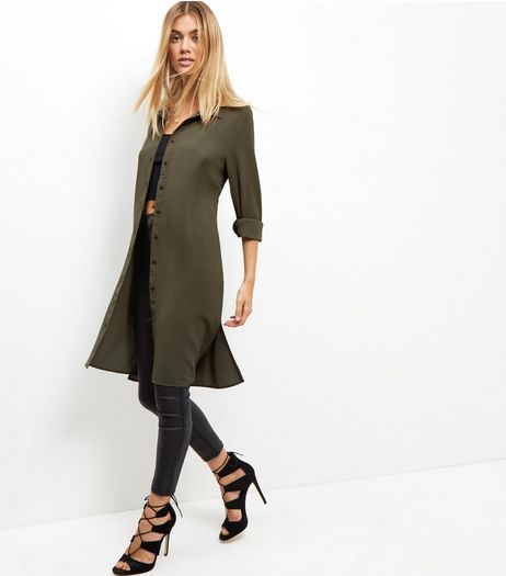 Tall Khaki Chiffon Longline Shirt | New Look