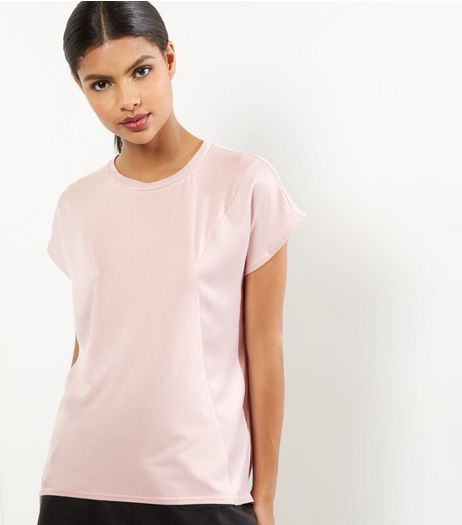 Tall Shell Pink Sateen Longline T-shirt | New Look