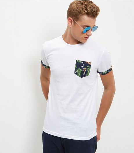White Abstract Print Panel Contrast Trim T-Shirt | New Look
