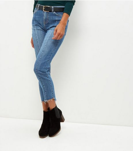 Blue Seam Trim Step Hem Straight Leg Jeans | New Look