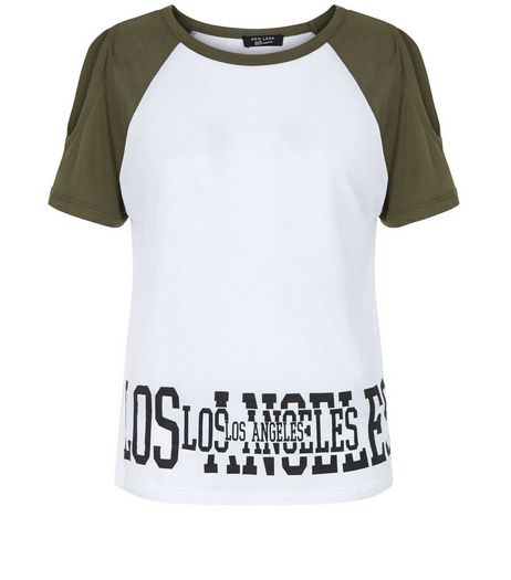 Teens Khaki LA Print Raglan T-Shirt | New Look