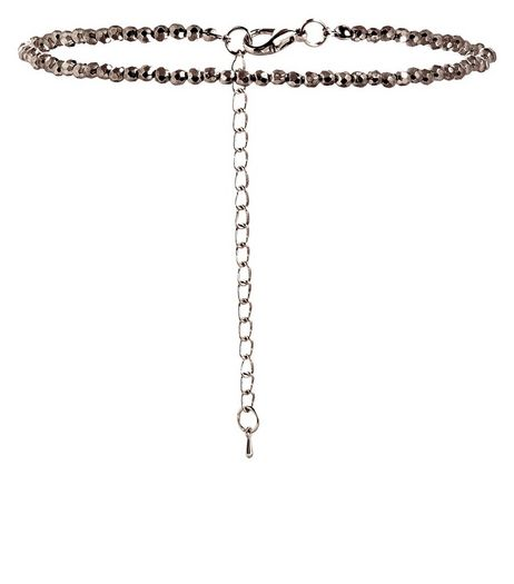Grey Beaded Skinny Choker | New Look