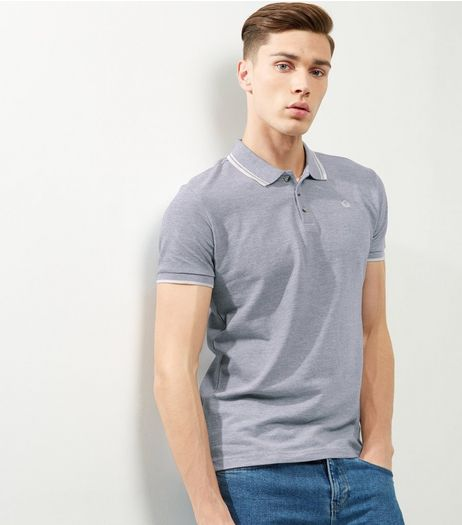 Grey Stripe Trim Planet Logo Polo Shirt | New Look