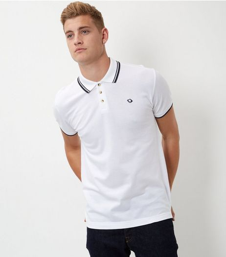 White Stripe Trim Planet Logo Polo Shirt | New Look