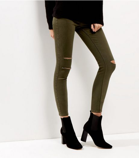 Khaki Ripped High Waist Super Skinny Jeans  | New Look