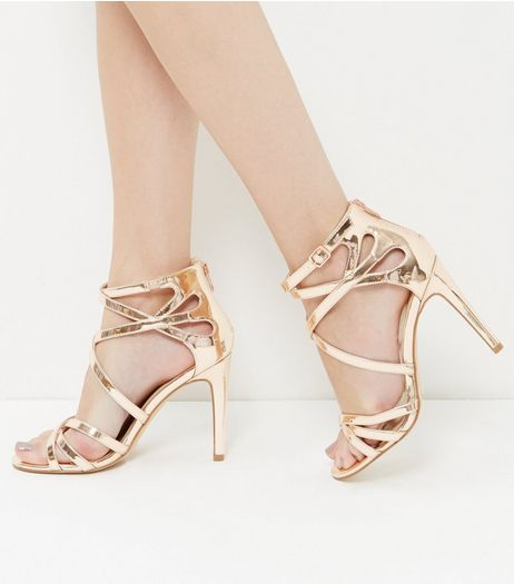Wide Fit Rose Gold Patent Metallic Heels  | New Look