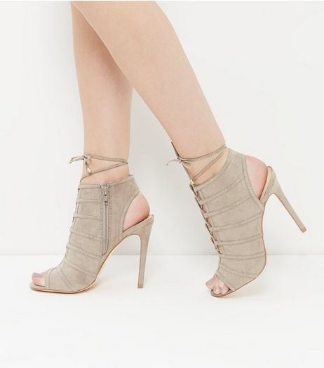 Grey Suedette Seam Trim Ghillie Heels | New Look