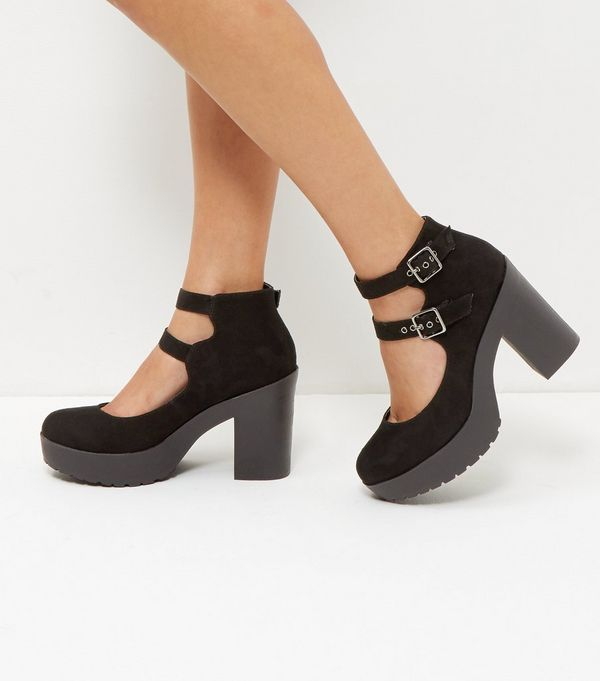 Black Suedette Double Strap Chunky Block Heels