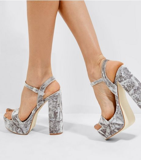 Grey Velvet Platform Heeled Sandals  | New Look