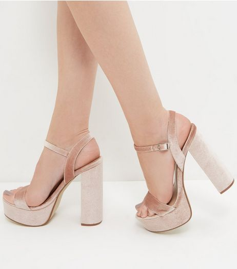 Pink Velvet Ankle Strap Platform Heeled Sandals  | New Look