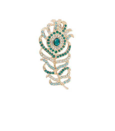 Green Diamante Peacock Feather Brooch | New Look