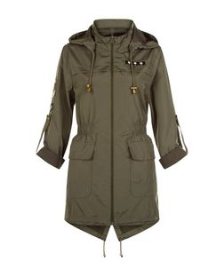 Brave Soul Khaki Hooded Roll Sleeve Coat | New Look