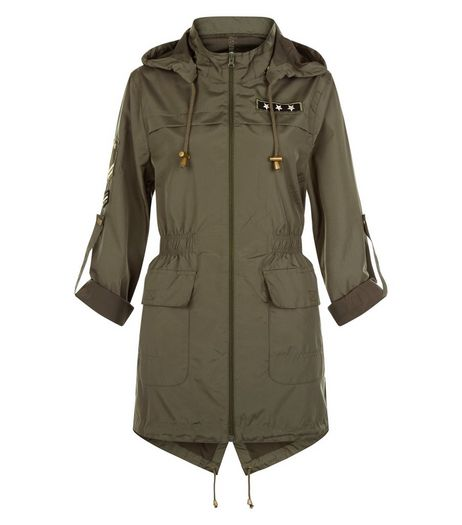 Brave Soul Khaki Hooded Roll Sleeve Parka | New Look