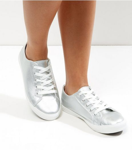 Silver Metallic Lace Up Plimsolls  | New Look