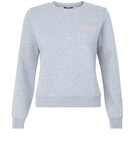 Teens Grey Embroidered Catitude Print Sweater | New Look