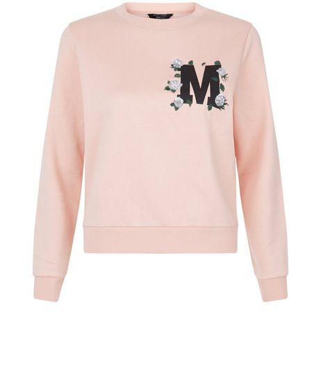 Teens Pink M Print Floral Embroidered Sweater  | New Look