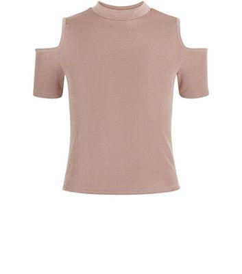 Teens Shell Pink Cold Shoulder Funnel Neck Top