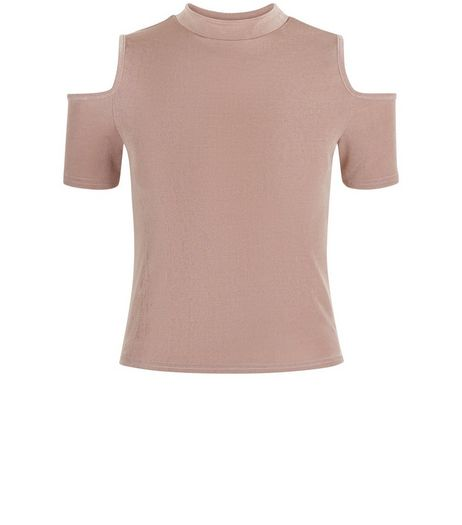 Teens Shell Pink Cold Shoulder Funnel Neck Top  | New Look