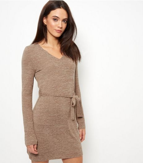 Mela Light Brown Fine Knit V Neck Tie Waist Dress | New Look