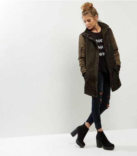 Anita and Green Khaki Contrast Sleeves Padded Coat  | New Look