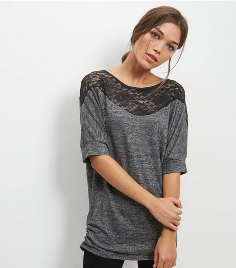 Mela Grey Lace Detail Longline Batwing Top | New Look
