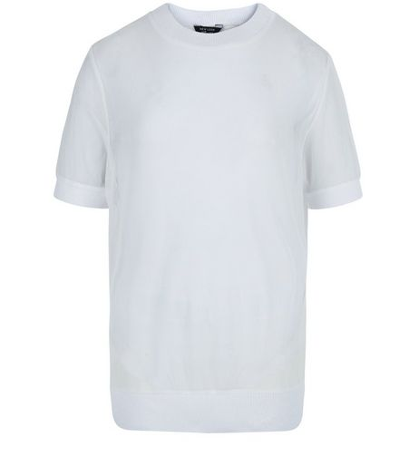 Teens White Sheer Cuffed Hem T-Shirt | New Look