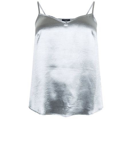 Curves Silver High Shine Cami | New Look