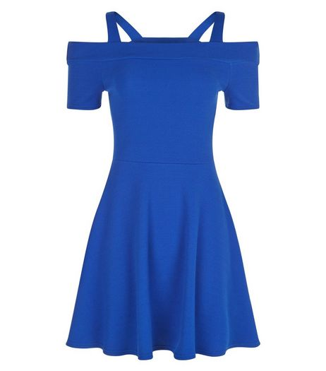 Teens Blue Cold Shoulder Skater Dress | New Look