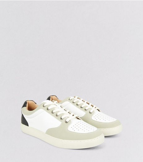White Contrast Panel Sneakers | New Look