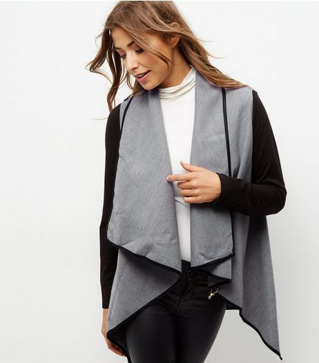 Mela Pale Grey Contrast Sleeve Jacket | New Look