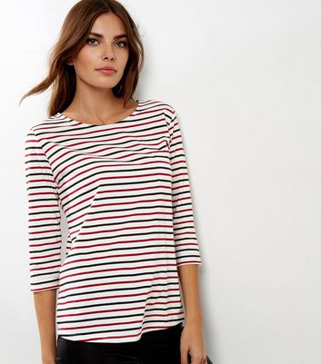 Red and Black Stripe 3/4 Sleeve Top