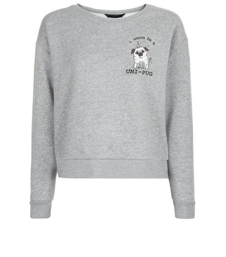 Teens Grey Pug Print Sweater | New Look