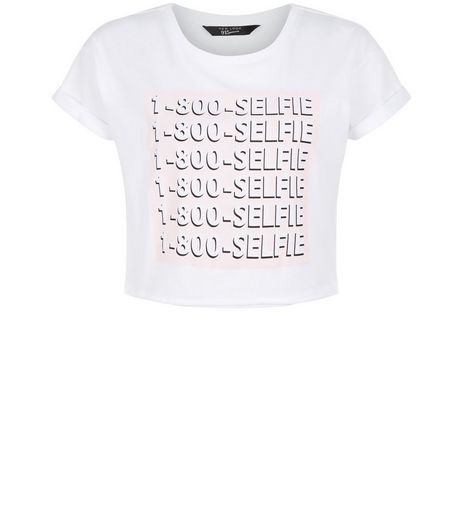 Teens White 1-800-Selfie Crop Top | New Look